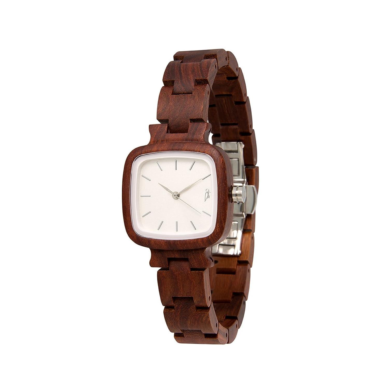 STADTHOLZ Armbanduhr Holzuhr Lausanne Safirglas aus rotem Sandelholz Silber Damenuhr Geschenk