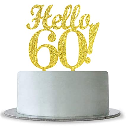 Amazon WeBenison Gold Hello 60 Cake Topper