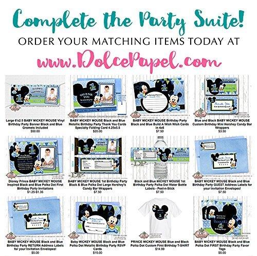 Amazon Com 10 Baby Mickey Mouse Black And Blue Metallic Birthday