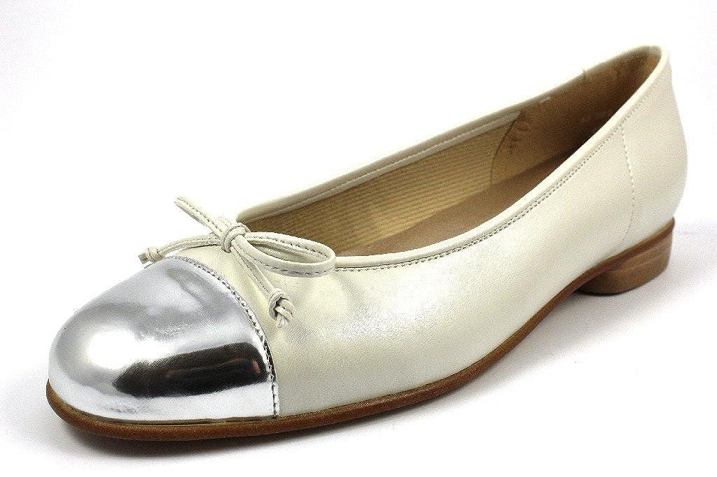 Silber Off-Weiß Gabor Damenschuhe 65.102.09 Damen Ballerina mit Verbreiterter Auftrittfläche