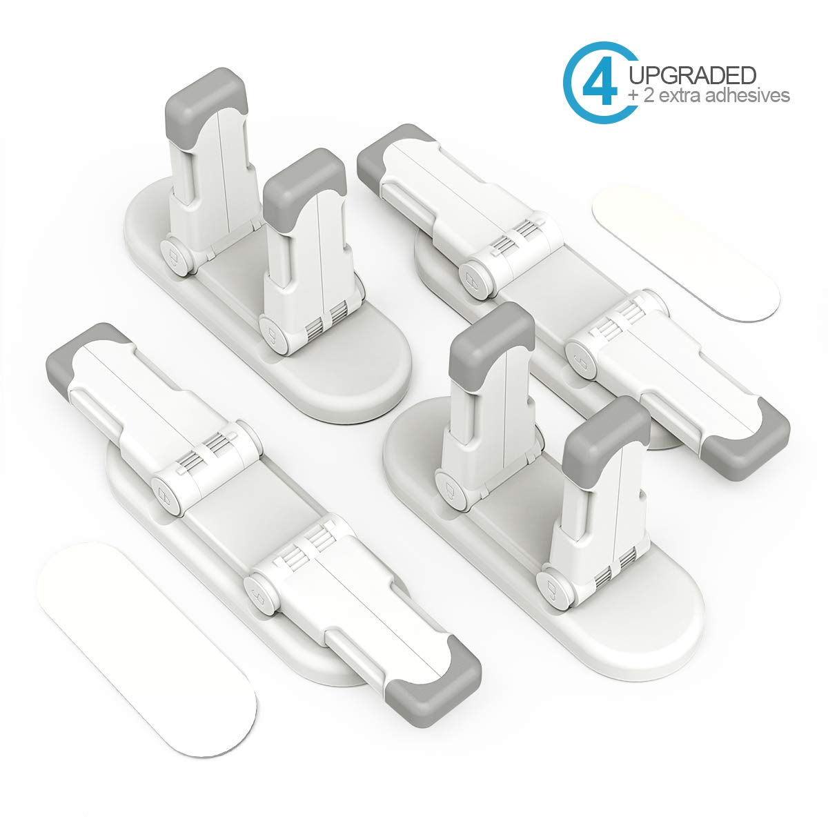 ABTOR Child Safety Door Lever Lock, 4 Pack Upgraded Child Proof Door Handle Lock Double Locks Design with Adhesive Tool-Free Installation Prevent Kids from Opening the Door