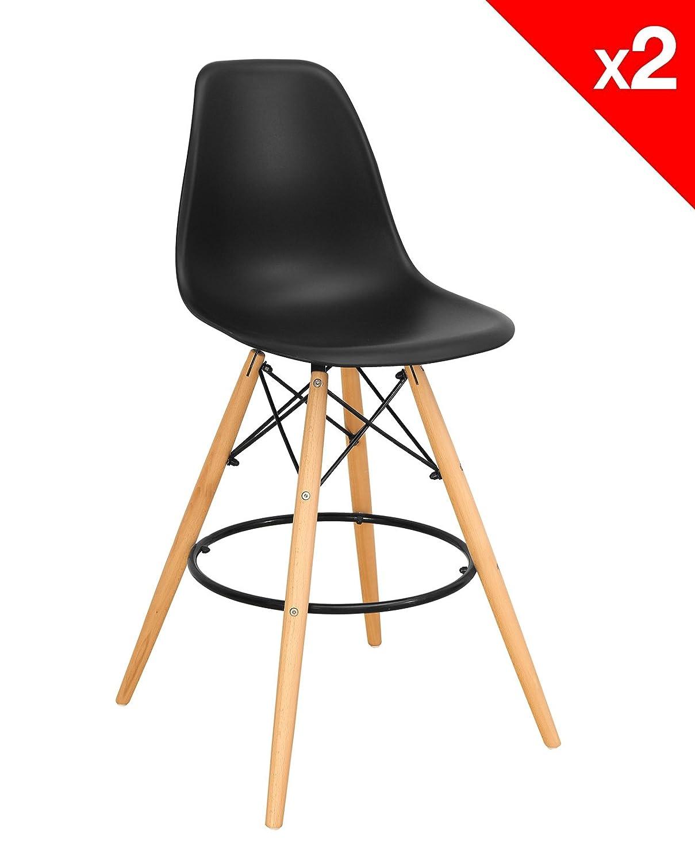 Lot de 2 tabourets de bar DSW SLEO - Chaise de Bar Scandinave KAYELLES (Noir)