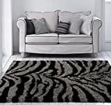 230 Manhattan Zebra Shag Gray Black 7 x 10 Area Rug Carpet Large New