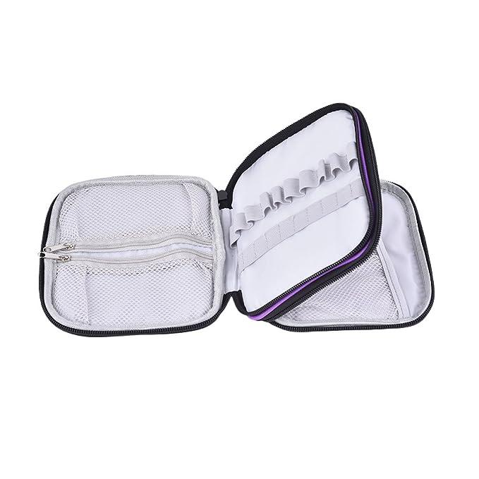 Gaeruite - Estuche de ganchillo para tejer con cremallera y compartimentos pequeños, no incluye accesorios, Morado, as show