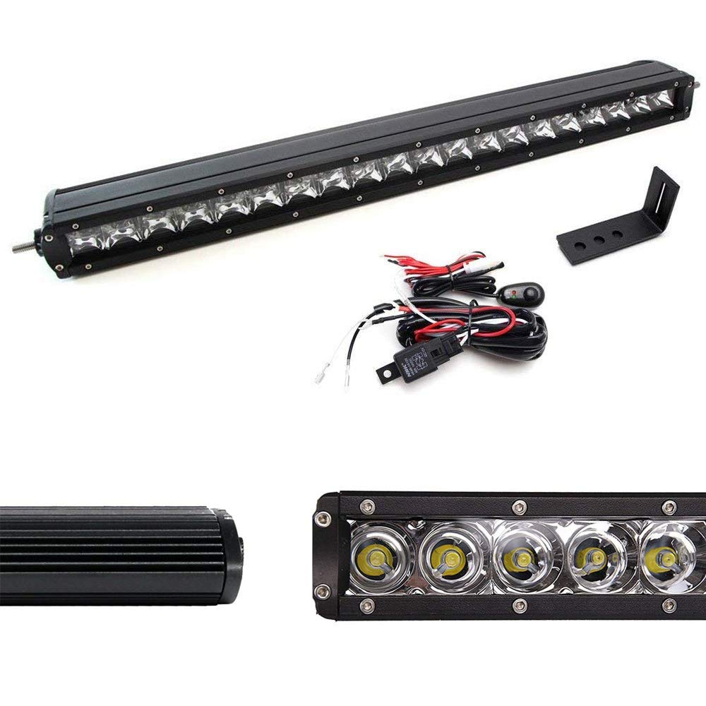 iJDMTOY Complete Lower Bumper Grill Mount 20' 100W High Power LED Light Bar System Combo For 2009-2013 GMC 1500 or 2008-2014 2500HD 3500HD iJDMTOY Auto Accessories 20-21 Inch Single Row Straight LED Bar