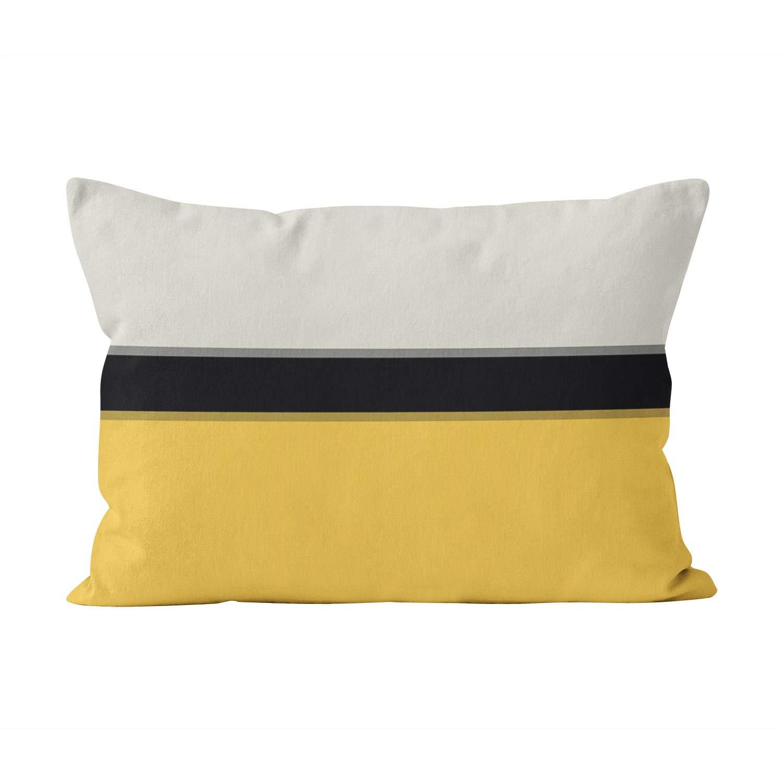 Suklly Pretty Modern Mustard Yellow Silver Gray Black Stripes Hidden Zipper Home Decorative Rectangle Throw Pillow Cover Cushion Case 16x24 Inch One Side Design Printed Pillowcase