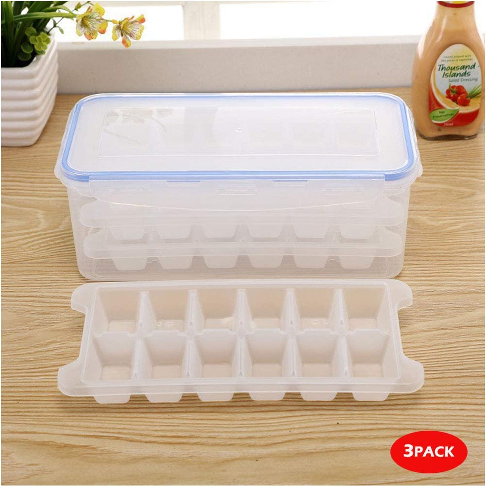 SINKDA 3-Pack Large Ice Cube Trays Mold (36Cubes) with Storage Airtight Container (115oz)-Easy to Make and Store More Ice Cubes