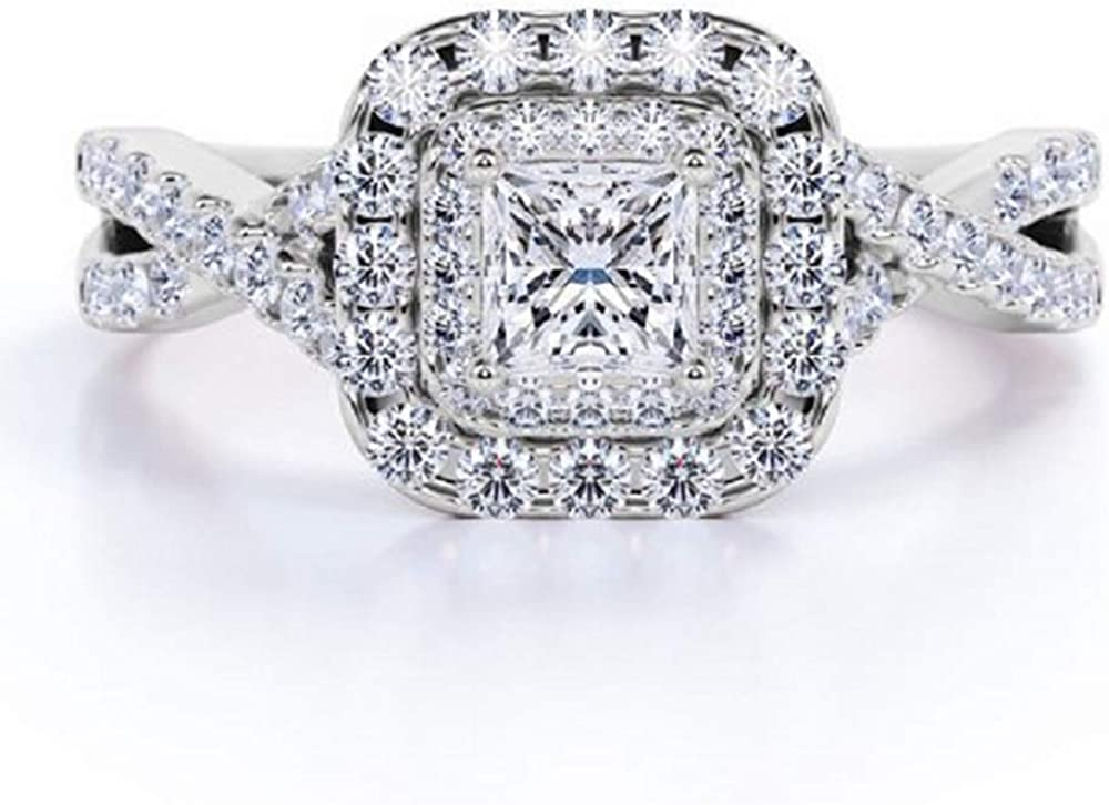 Blocaci 1.25 Carat Halo Engagement Rings for Women Moissanite Princess Cut Engagement Rings 925 Sterling Silver 10K 14K 18K Gold Anniversary Rings Promise Rings for Her