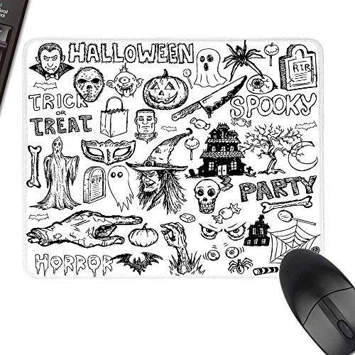 Vintage Halloween Anti-Slip Mouse Mat Hand Drawn Halloween Doodle Trick or Treat Party Severed Hand Design Laptop Desk Mat, Waterproof Desk Writing Pad 11.8