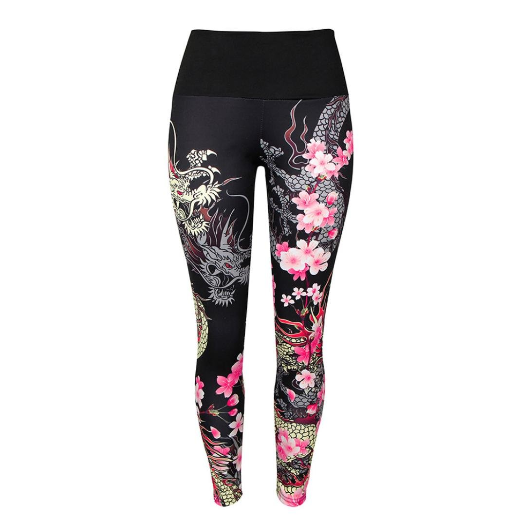 Leggings Damen, ABsoar Damen Drucken hohe Taille Leggings Sporthosen Yoga Lauf Fitness Leggings Sportliche Hosen