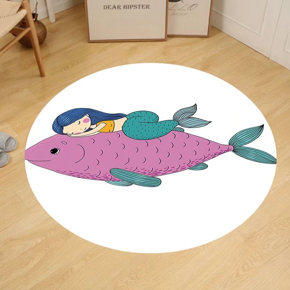 Gzhihine Custom round floor mat Mermaid Decor Baby Mermaid Sleeping on Top Giant Fish Happy Best Friends Kids Nursery Theme Bedroom Living Room Dorm Purple Teal