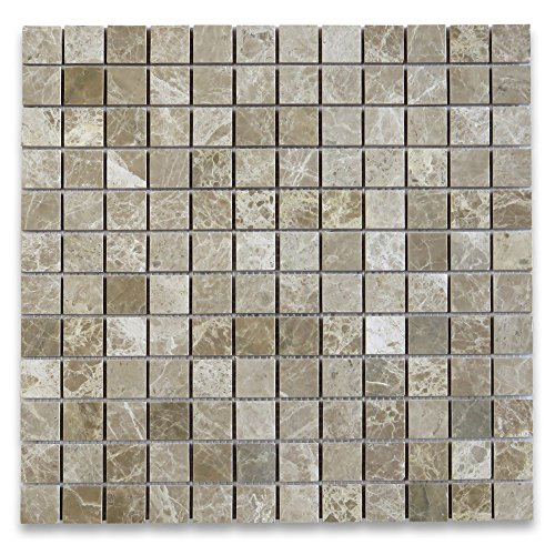 Emperador Light Marble Square Mosaic Tile 1 x 1 Polished