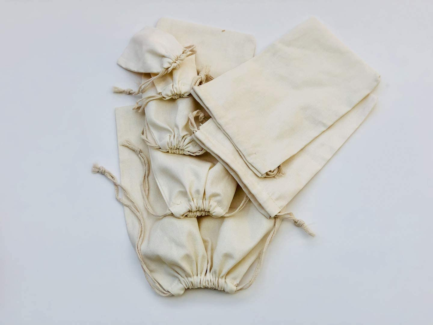 Cotton Double Drawstring Muslin Bag. 100% Organic Cotton. Pack of 100 (5 x 7 Inches)