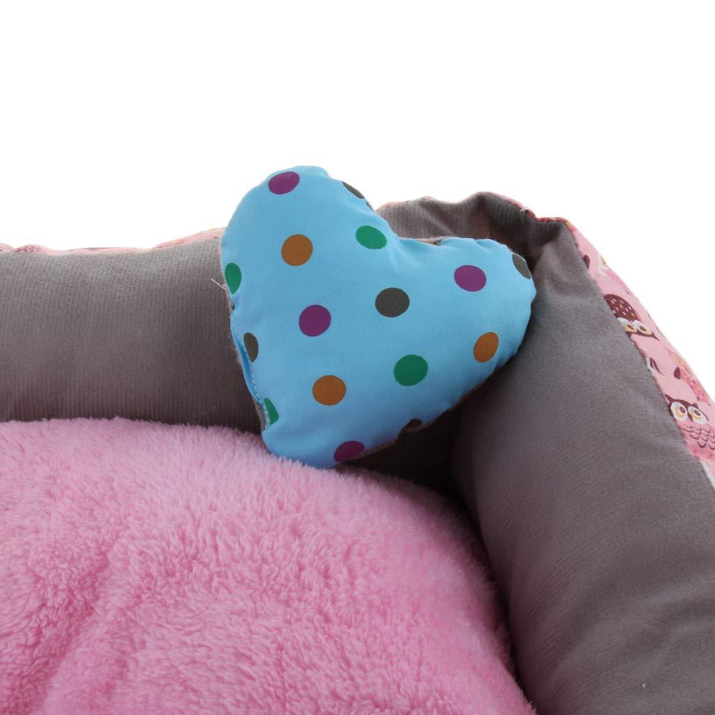 non-brand Letto Imbottito per Animali Domestici Cuccia Cuscino Divano per Medie Cani Cucciolo O Gatti 65x55cm Rosa