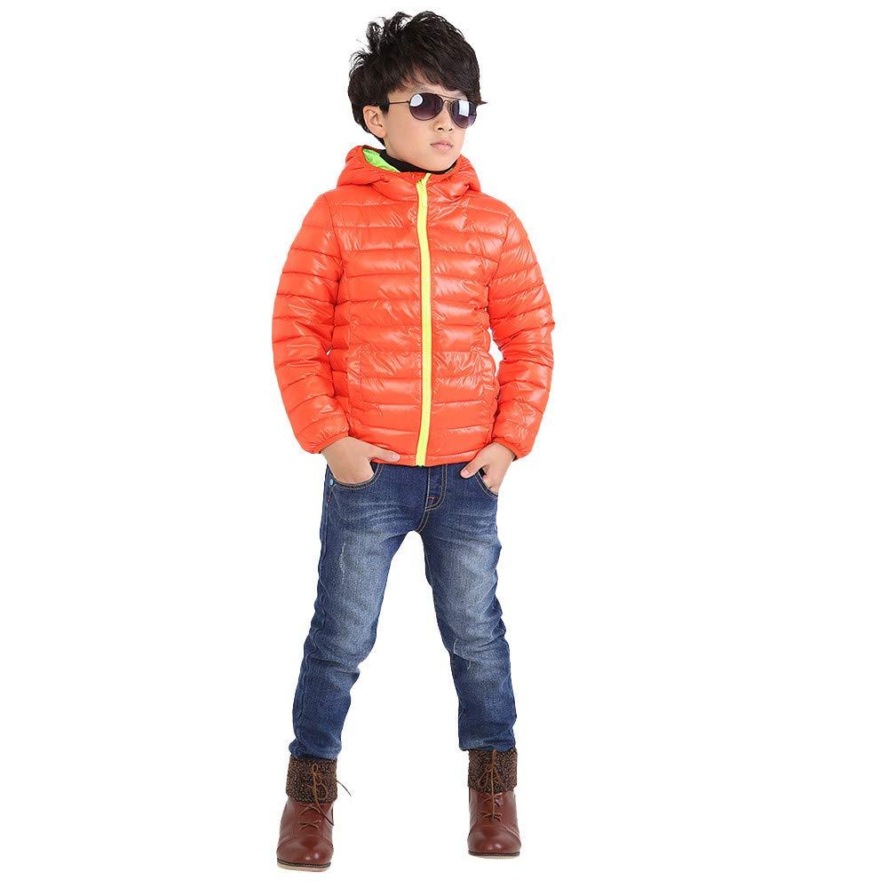 Vovotrade Children Boys Girls Long Sleeve Hooded Jacket Coat Keep Warm Zipper Outwear(Orange,140)