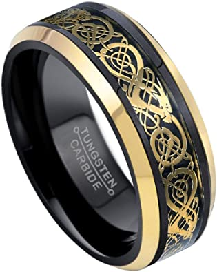 8mm Comfort Fit Tungsten Men/'s Wedding Band Ring Celtic Dragon Gold Inlay Gifts
