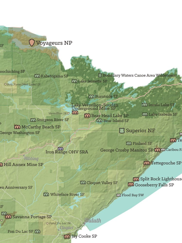 Minnesota State Parks & Federal Lands Map 18x24 Poster (Green & White)
