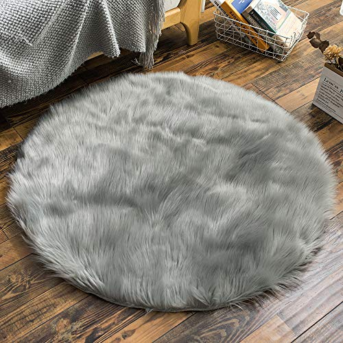 Carvapet Luxury Soft Round Faux Sheepskin Fur Area Rugs Chair Cover for Bedroom and Living Room, 4ft Diameter, Grey (For Rugs Circle Bedroom)