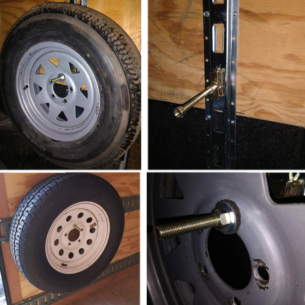 Hydraker E-Track Spare Tire Trailer Mount Fit for Enclosed Trailers Wall Trucks Semis Garages Motorcycle Shelf