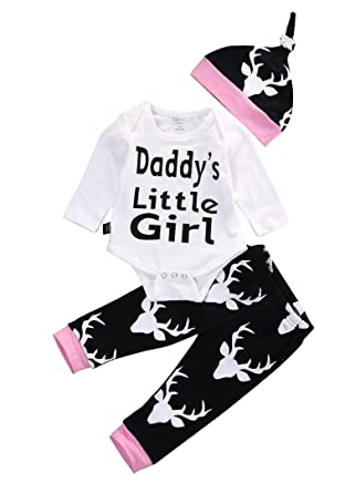 8463f8674 Amazon.com: Newborn Baby Girls Long Sleeve Daddy's Little Girl Romper and  Deer Pants Outfit with Hat: Clothing