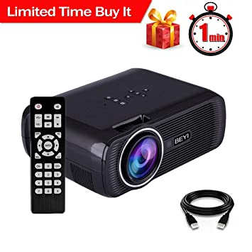 Proyector LCD de 3000 LúMenes, Proyector Multimedia BEYI Mini Home Theater, Admite 1080p Full HD, HDMI, VGA, USB, SD, AV Y Interfaz de Auriculares, ...