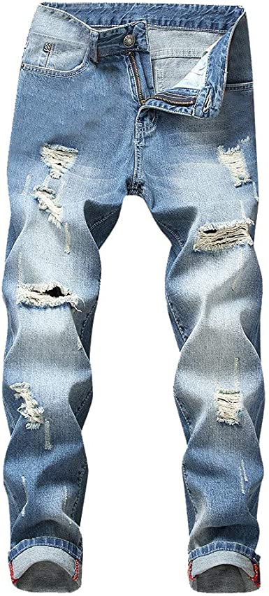 Men Jeans Skinny Allywit Ripped Skinny Slim Fit Distressed Holes Jeans Casual Denim Pants Zipper