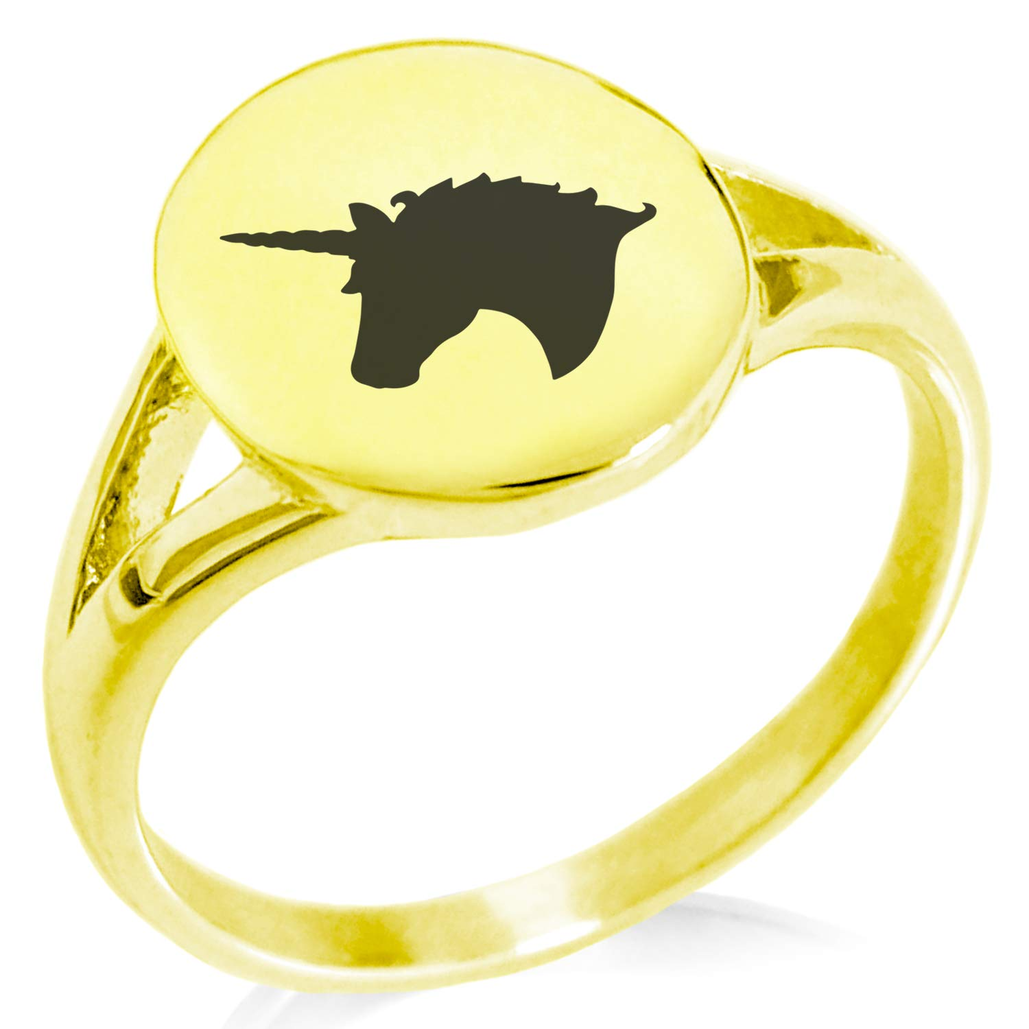 Tioneer Stainless Steel Unicorn Minimalist Oval Top Polished Statement Ring