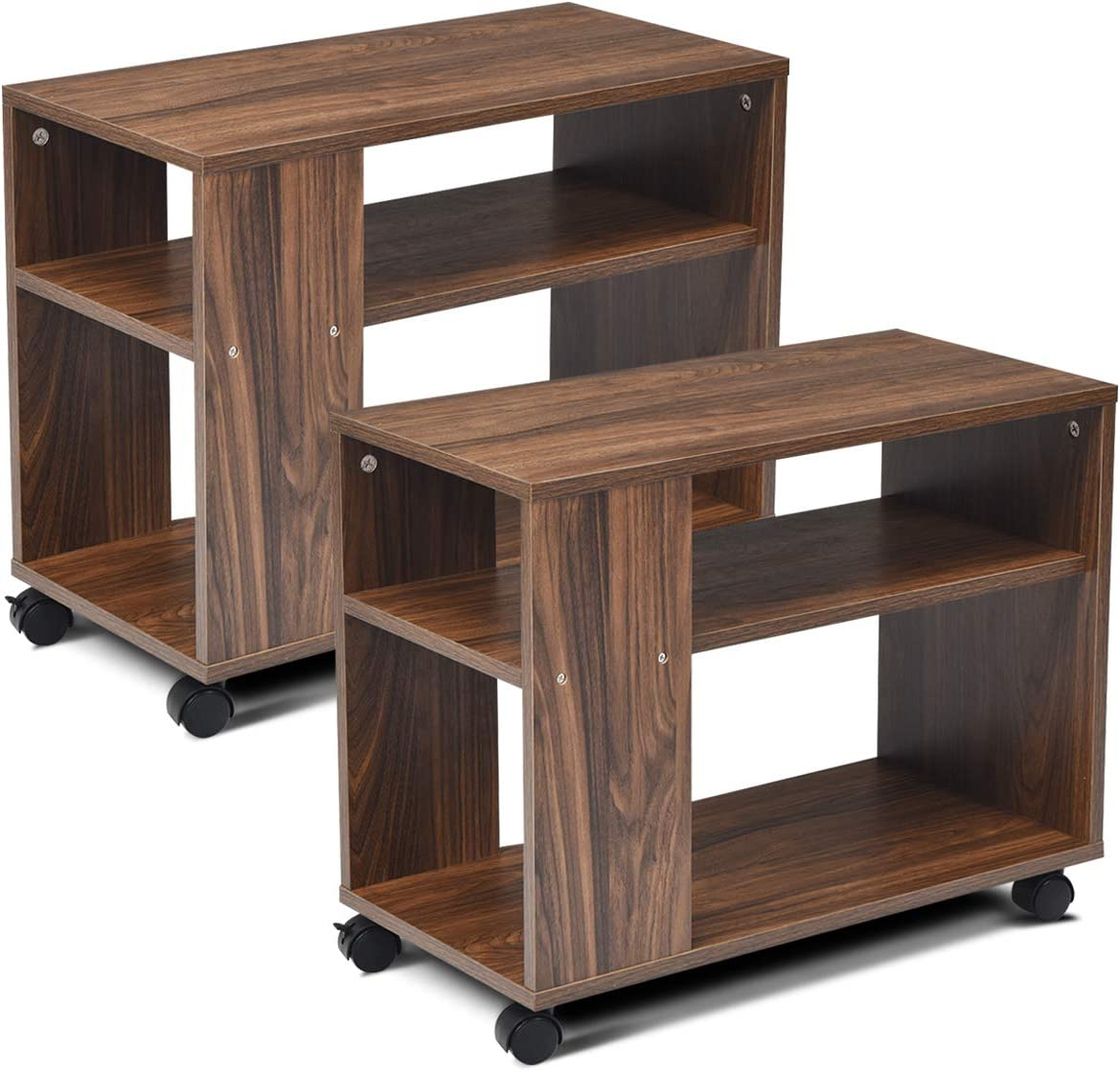 Giantex End Table 3-Tier with Shelves and Wheels for Small Spaces, Stable and Multifunctional Storage Organize Cart for Living Room,Bedroom, Office Nightstand 2, Brown
