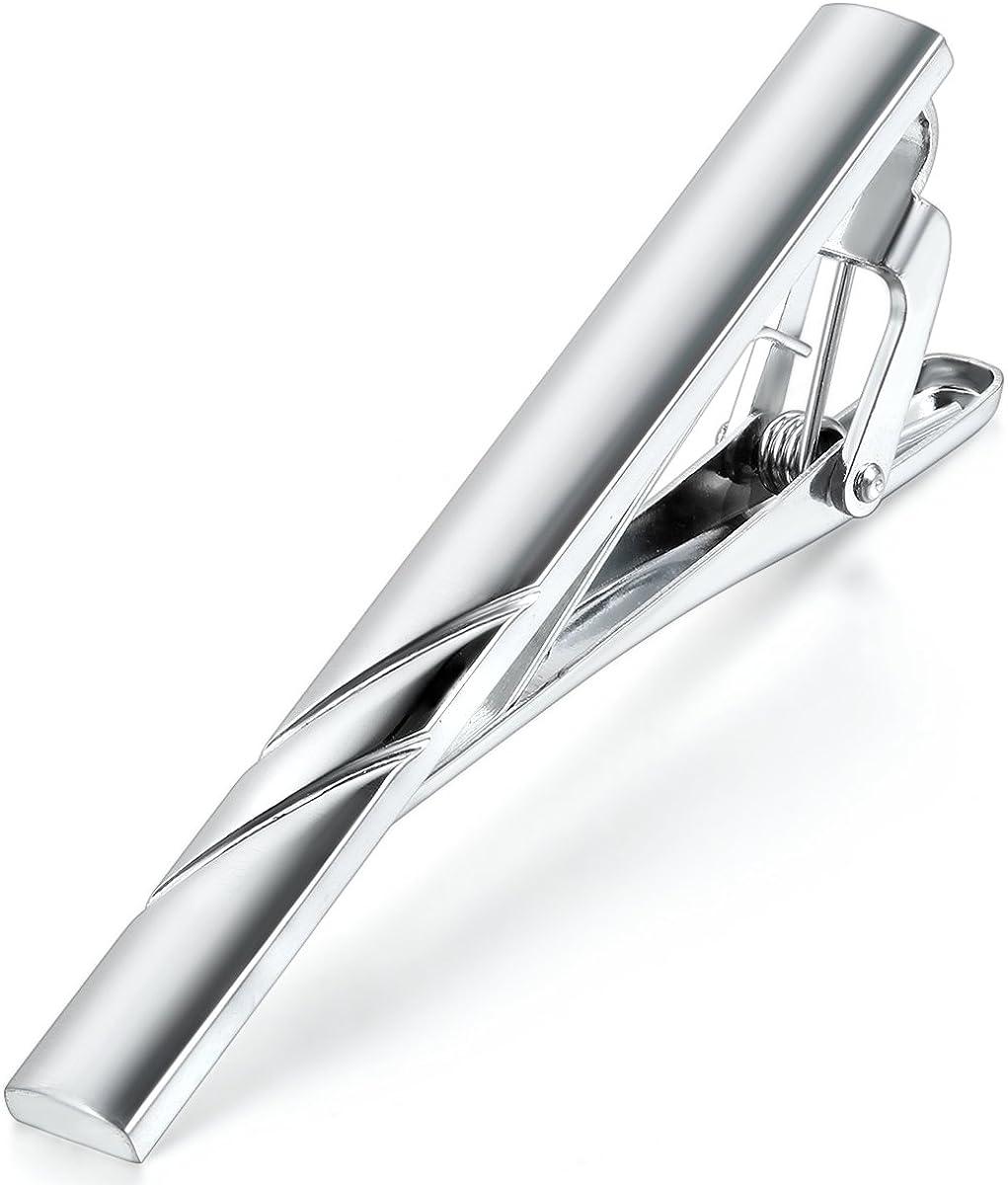 Mjartoria en acier inoxydable pour homme Simple lisse Pince /à cravate