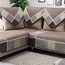 "OstepDecor Cotton Non-Slip Quilted Sofa Furniture Protectors With Multi Size Available (Coffee & Grids), 28""W x 28""L (70 x 70cm)"
