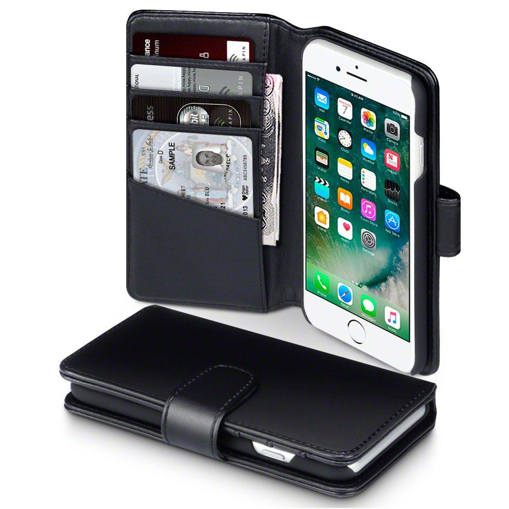 iPhone  iPhone Funda Cartera de auténtico cuero tapa delantera con billetera