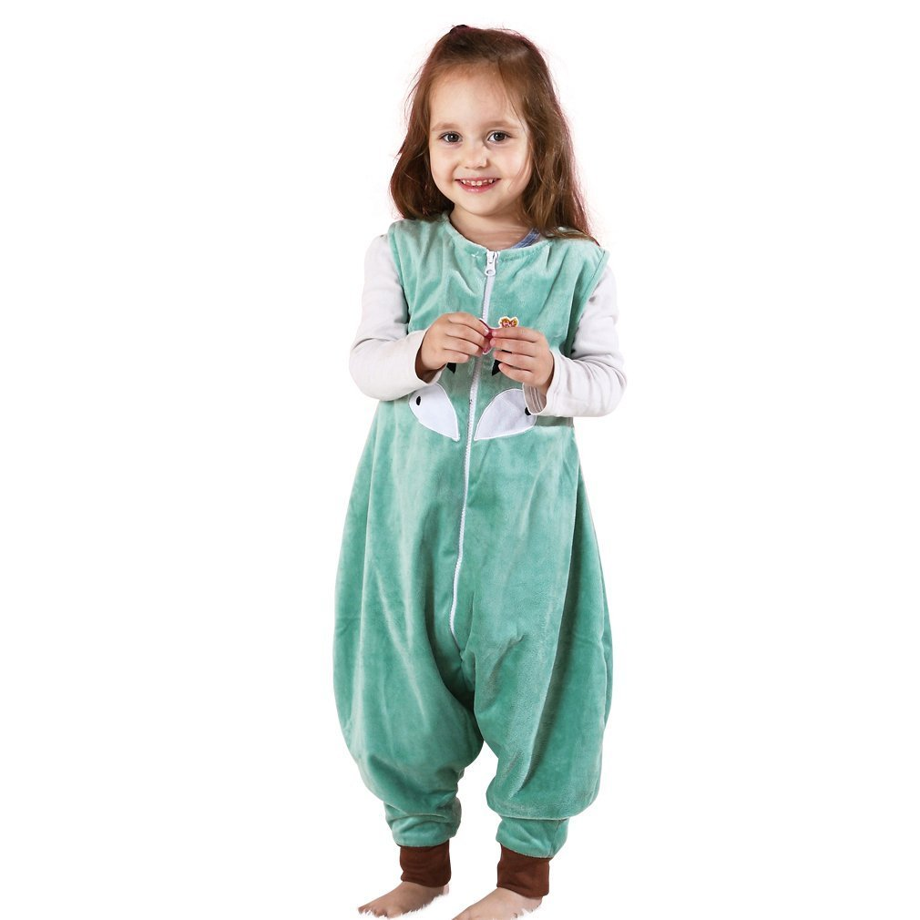 Yezelend Baby Schläfer Flanell Tragbar Decke, Leicht Baby Mädchen ärmel Schläfer Mit Füße 1-6T (1-3 Jahre, Blau)