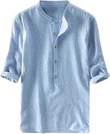 MEIbax Moda Explosión Simple Color sólido Algodón y Lino botón Camisa Manga Corta Hombre Camisa Suelta Casual de Hombres Camiseta de Hombre cómoda y Transpirable Ropa de Hombre: Amazon.es: Ropa y accesorios