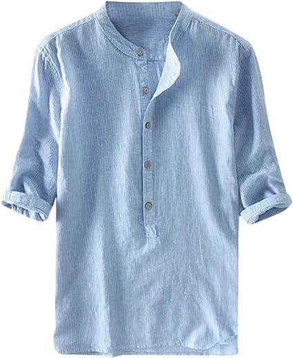 MEIbax Moda Explosión Simple Color sólido Algodón y Lino botón Camisa Manga Corta Hombre Camisa Suelta Casual de Hombres Camiseta de Hombre cómoda y ...