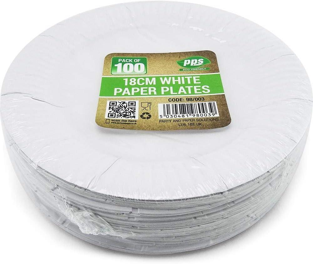 Party /& Paper Solutions 100 Platos de pl/ástico Blanco 18 cm de Calidad Platos duraderos Ideales para Alimentos fr/íos y Calientes