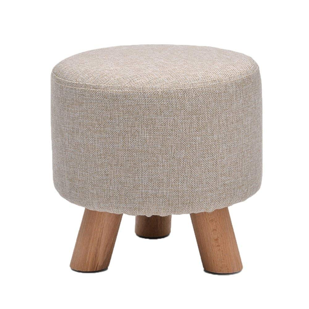 YQY Chair- Footstool Solid Wood + Linen Cotton Modern Home Stool Fashion Makeup Stool Children's Stool