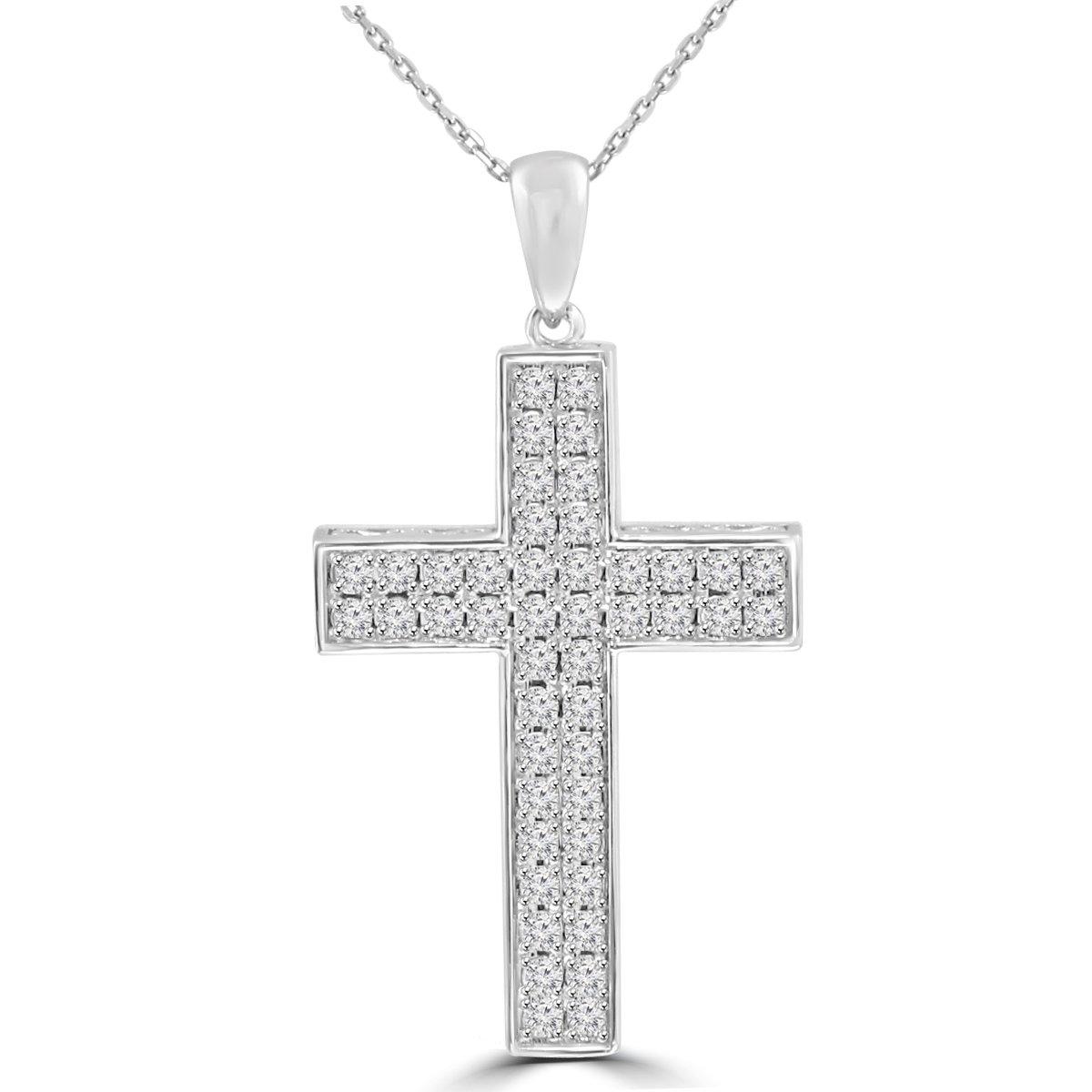 1.61 ct t.w. Round Cut Diamond Cross Pendant Necklace in 14 kt Gold