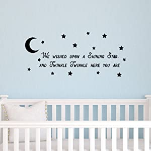"""Vinyl Wall Art Decal - We Wished Upon A Shining Star And Twinkle Twinkle Here You Are - 11"""" x 25"""" - Cute Home Apartment Nursery Playroom Kids Boy Girl Bedroom - Moon And Stars Rhyme (11"""" x 25"""", Black)"""