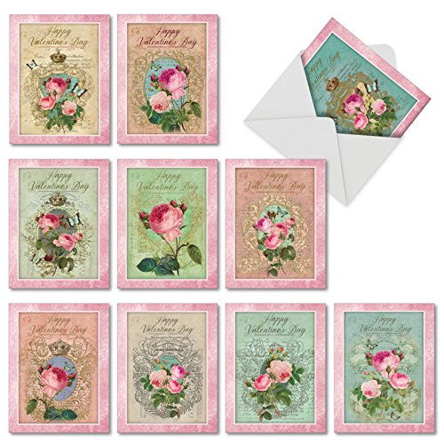 M2379VDG-B1x10 Box Set of 10 'Valentine's Romance and Roses' Valentine's Day Card Featuring Romantic Vintage Styled Collage with Roses, with Envelopes ()