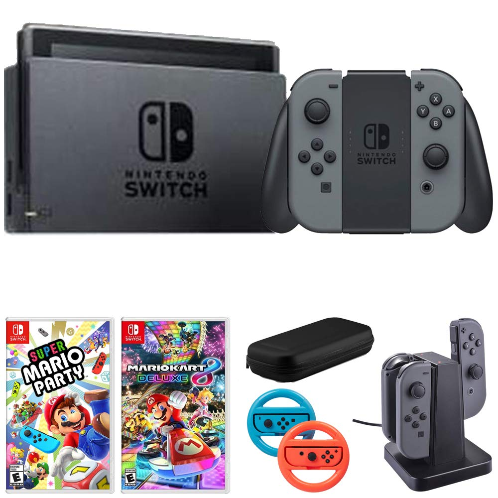 Nintendo Switch 32 GB Console w/Gray Joy Con (HACSKAAAA) Mario Kart 8 Deluxe Super Mario Party + 2-Pack Steering Wheel Switch - Blue/Red + More