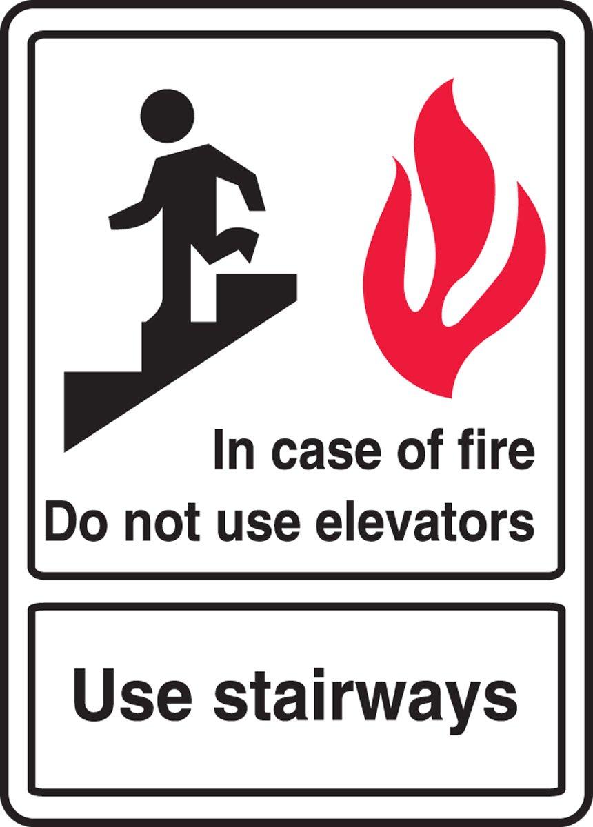Cartel de policarbonato en caso de incendio, no usar ...