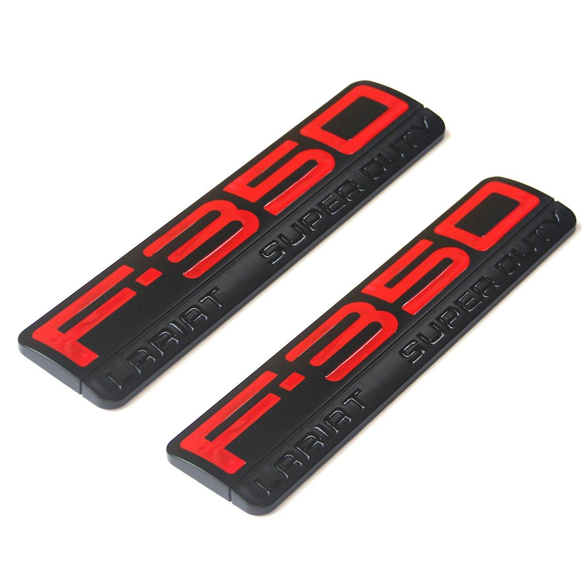 2x OEM F-350 Lariat Super Duty Side Fender Emblems Badge 3D logo Replacement for F350 Lariat Pickup Black Red Sanucaraofo