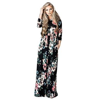 9c541c6f3bda9 Bluester Women Boho Floral Long Sleeve Dress