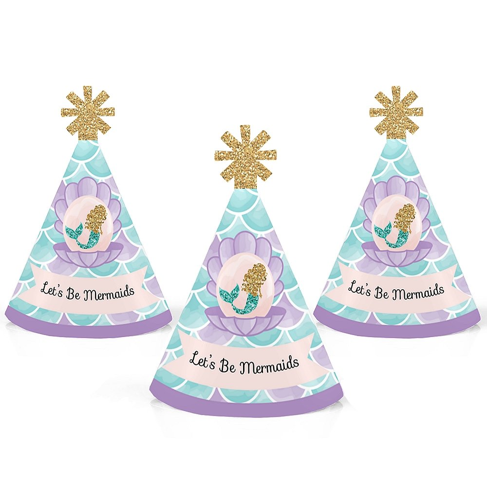Big Dot of Happiness Let's Be Mermaids - Mermaid Mini Cone Baby Shower or Birthday Party Hats - Small Little Party Hats - Set of 10