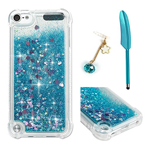 - iPod Touch 5 Case, Touch 6 Liquid Case,Glitter Bling Sparkle Flowing Case for iPod Touch 5/6 Transparent Shockproof TPU Protective Cover with Sylus & Dust Plug (Shiny Blue)