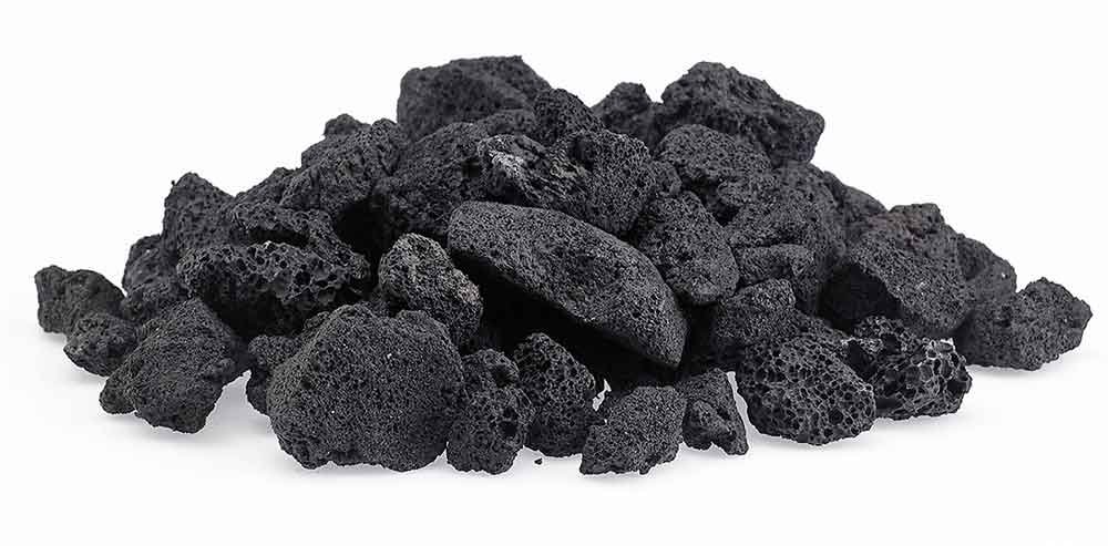 Black Lava Rocks for Gas Fire Pit, 1 Cu Ft, (approx. 35 lbs). Naturally Formed Lava Mined in the USA. Varies In Size From 1/2