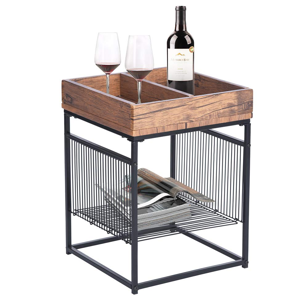 GreenForest End Table Industrial Style Side Table Nightstand with Metal Frame Storage Shelf, Walnut by GreenForest