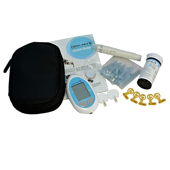 Medidor de glucosa en sangre especialmente calibrado para su uso en perros y gatos - Glucometro veterinario para mascotas - Producto e instrucciones en ...