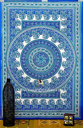 Amazon.com: Blue Paisley Wall Tapestry Tapestries Hippie Wall ...