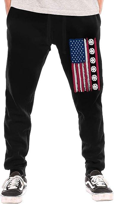 Yecx-1 Mens USA Flag Pickleball Sport Cotton,Workout Beam Trousers